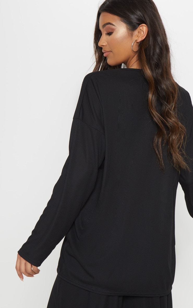 Black Lace Up Oversized Rib Top 2