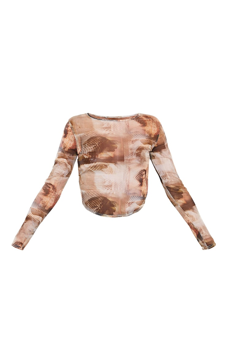 Nude Abstract Renaissance Printed Mesh Curved Hem Top 5