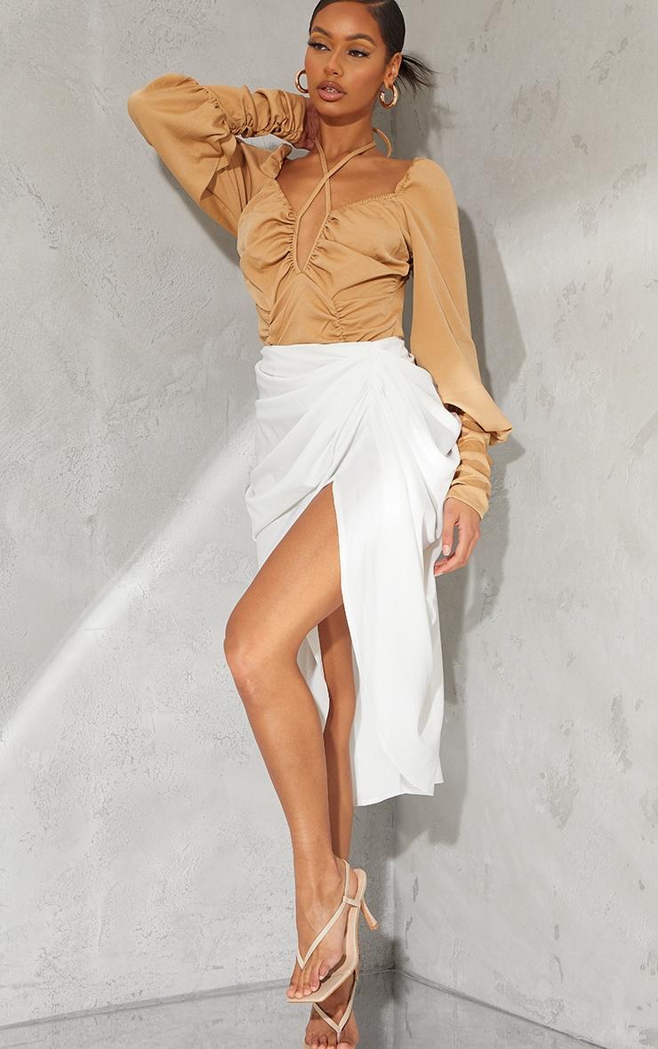 Taupe Woven Halterneck Long Sleeve Bodysuit 3