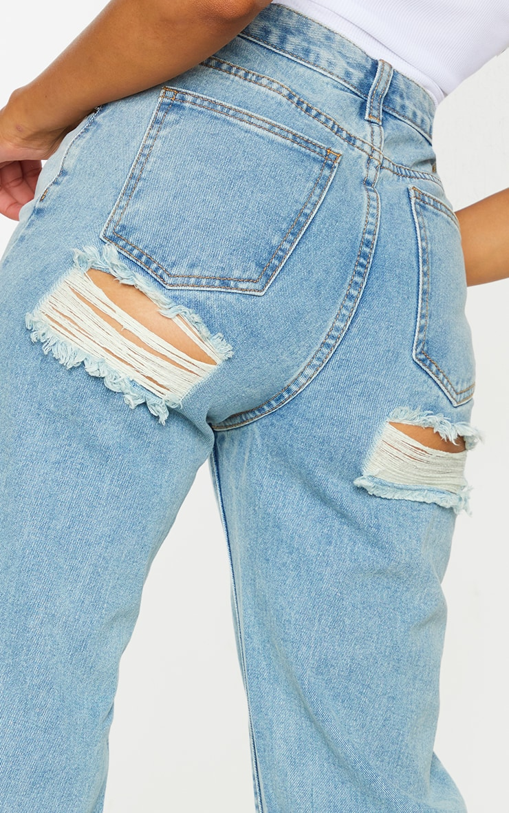 Vintage Wash Double Bum Rip Split Hem Jeans 4