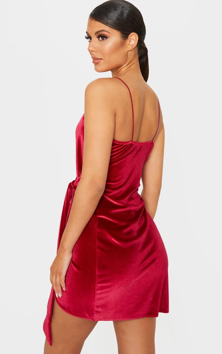 Burgundy Strappy Velvet Wrap Detail Bodycon Dress 2