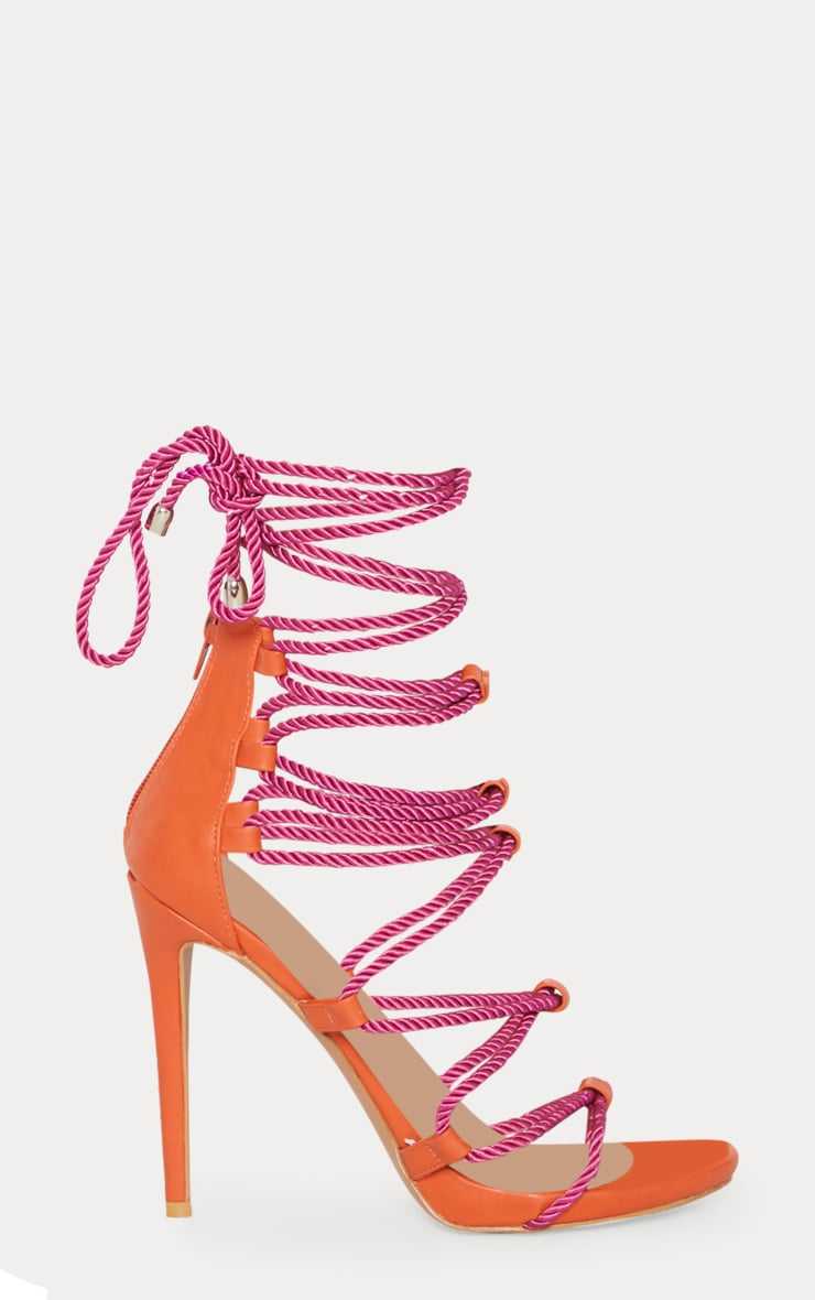 Pink Ghillie Tassel Rope Strappy Sandal 3