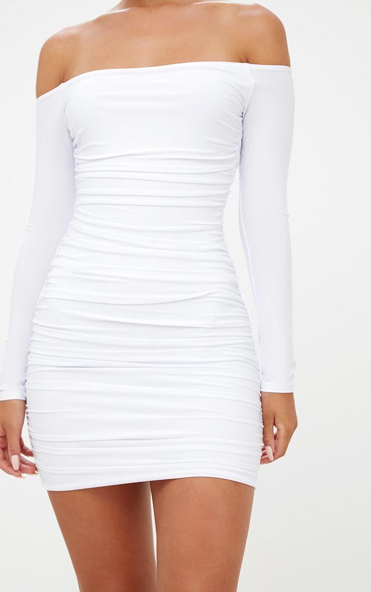 White Bardot Ruched Bodycon Dress 5