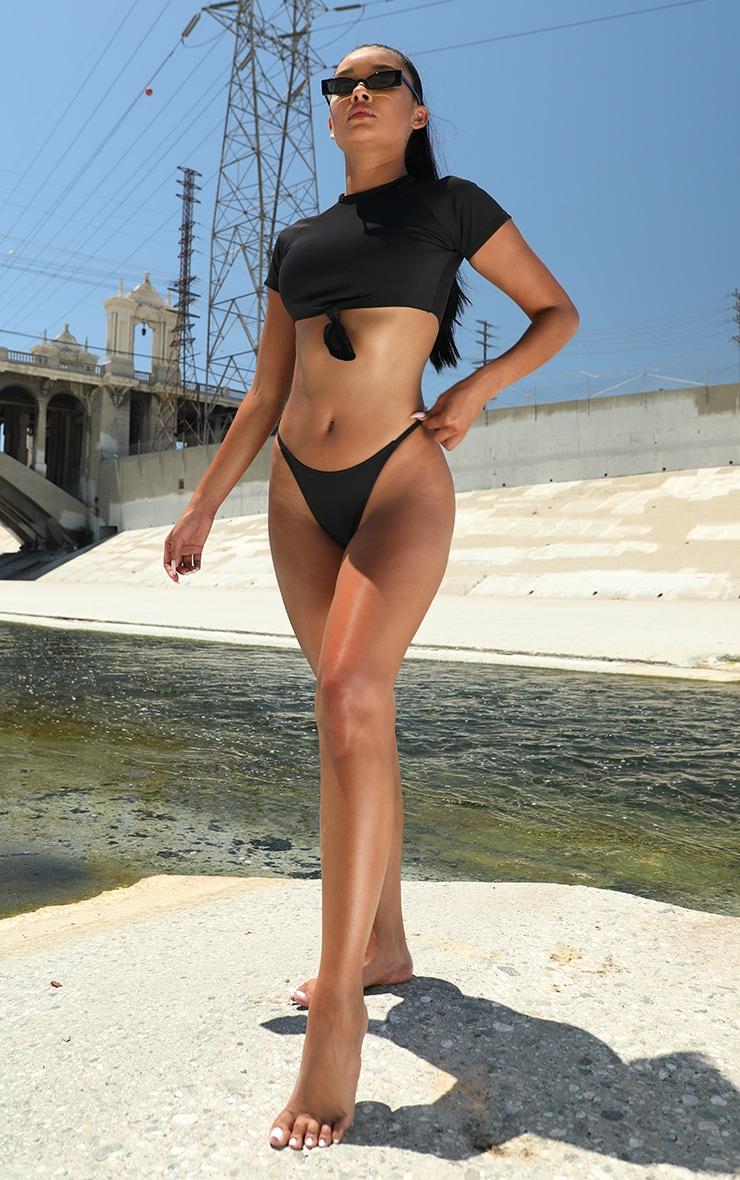 Black Scuba Mini Tanga Bikini Bottom 4