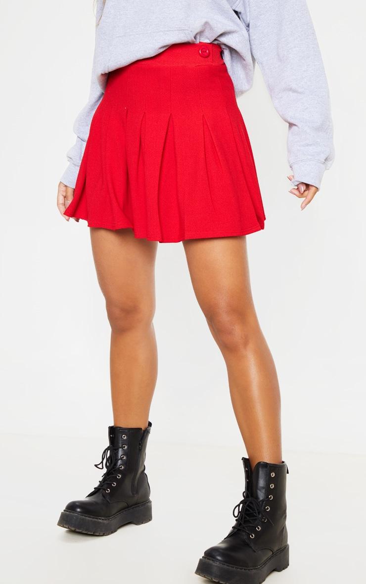 Jupe de tennis rouge plissée & fendue 2