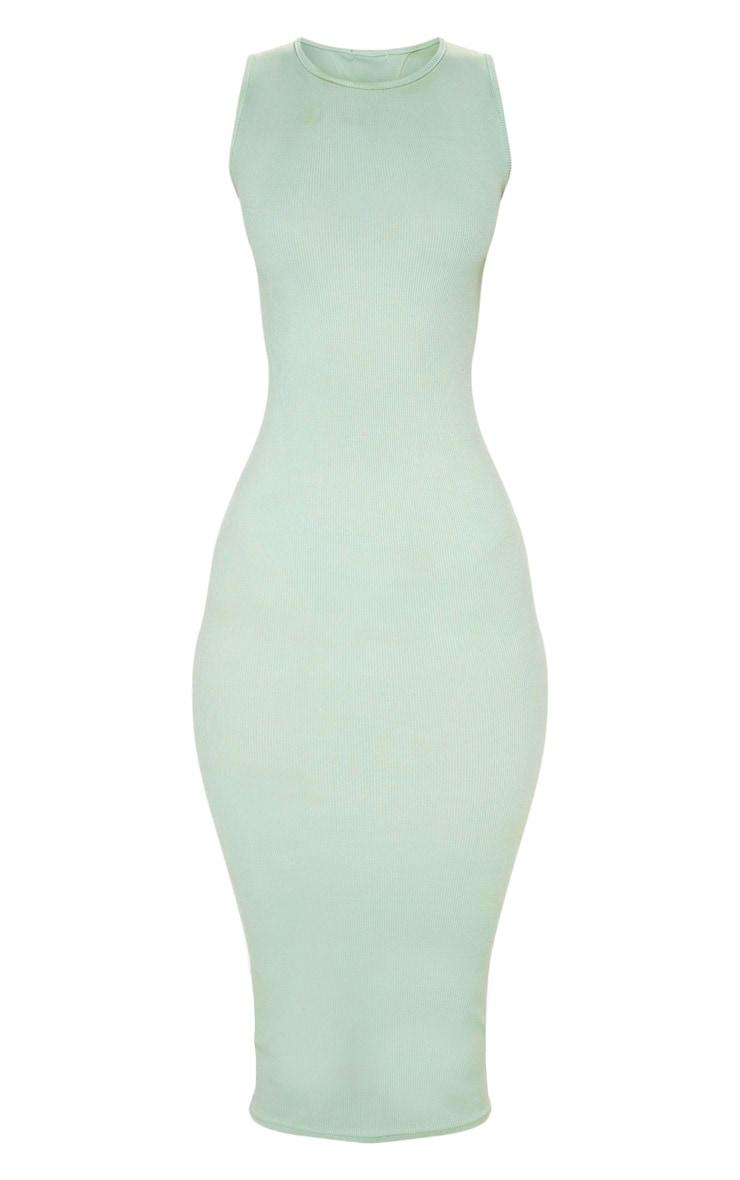 Sage Khaki Ribbed Midi Dress 3