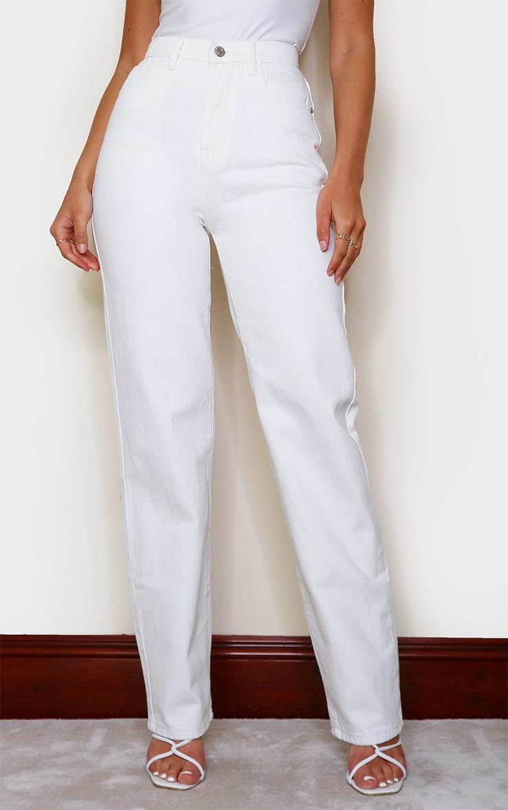 Off White High Waist Straight Leg Jean 2