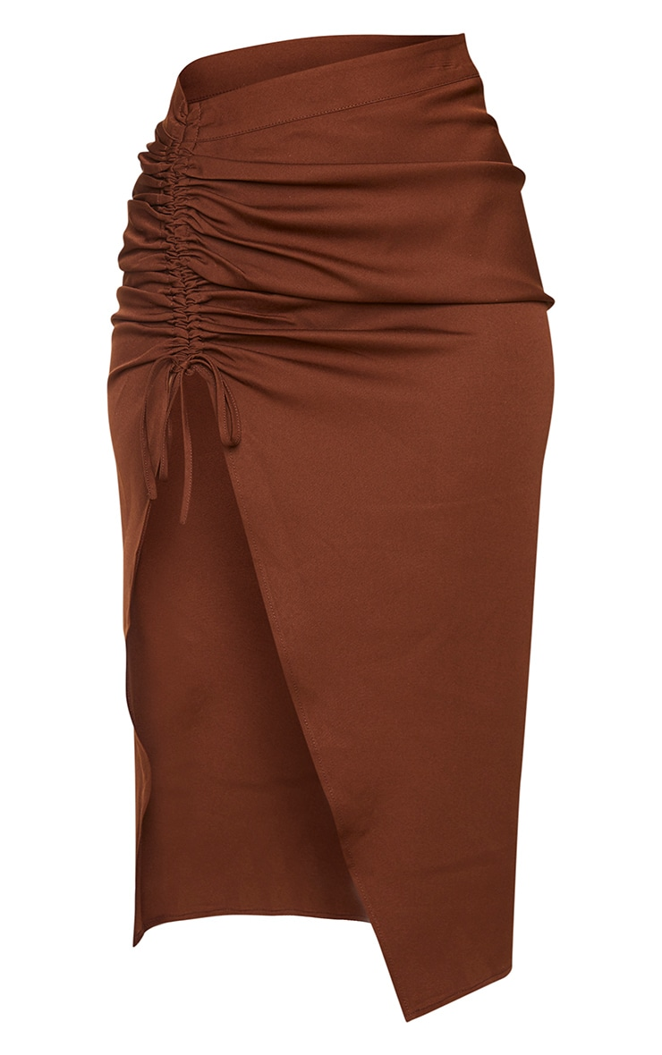 Chocolate Woven Ruched Detail Midi Skirt 6