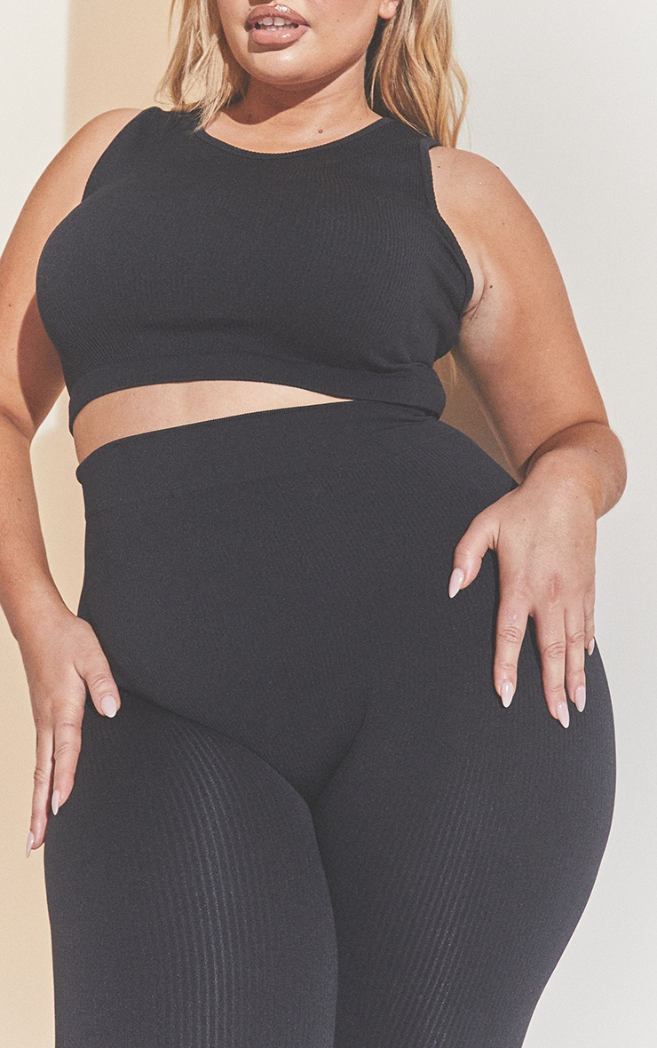 Plus Black Structured Contour Sleeveless Ribbed Crop Top 4
