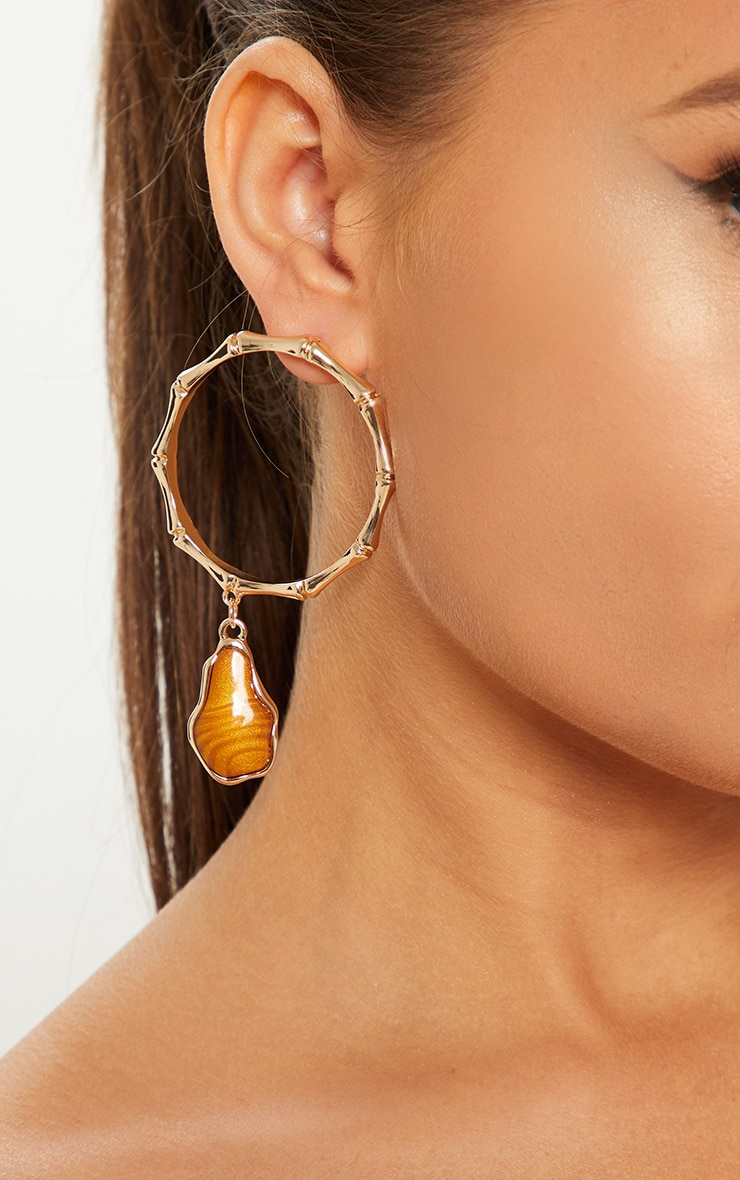 Gold Bamboo And Gemstone Hoop Earrings