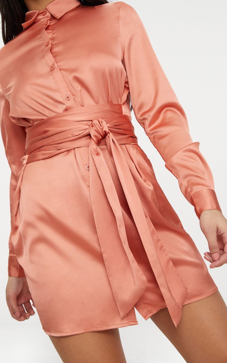Copper Satin Tie Waist Shirt Dress 5