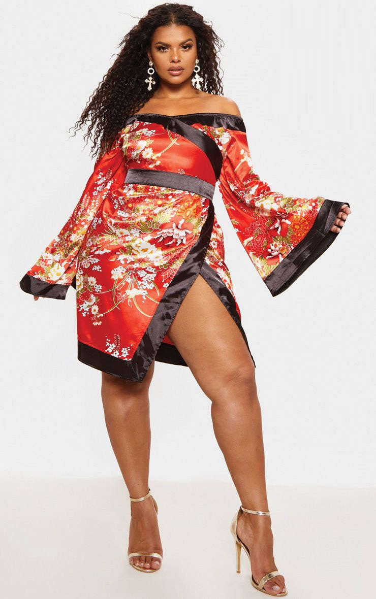 58be0e6f97 Plus Red Bardot Oriental Flare Sleeve Bodycon Dress image 1