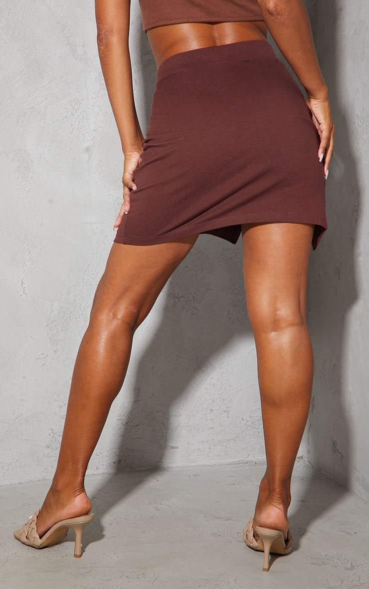 Chocolate Cotton Stretch Split Front Mini Skirt 3