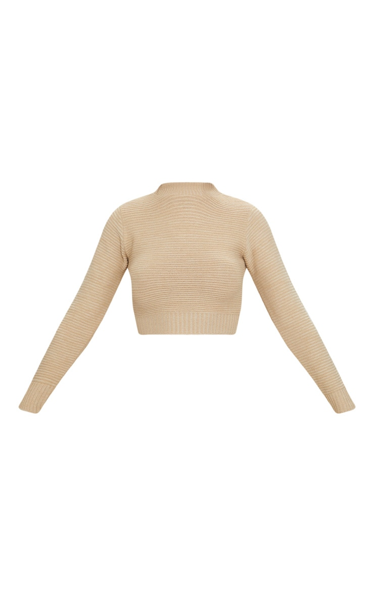 Stone Ribbed Cropped Knitted Jumper 3
