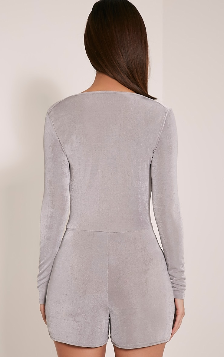 Veronia Silver Long Sleeved Cowl Neck Playsuit 2