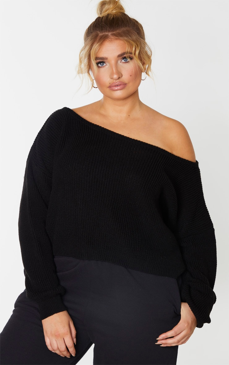 Plus Black Off the Shoulder Crop Knitted Sweater 1