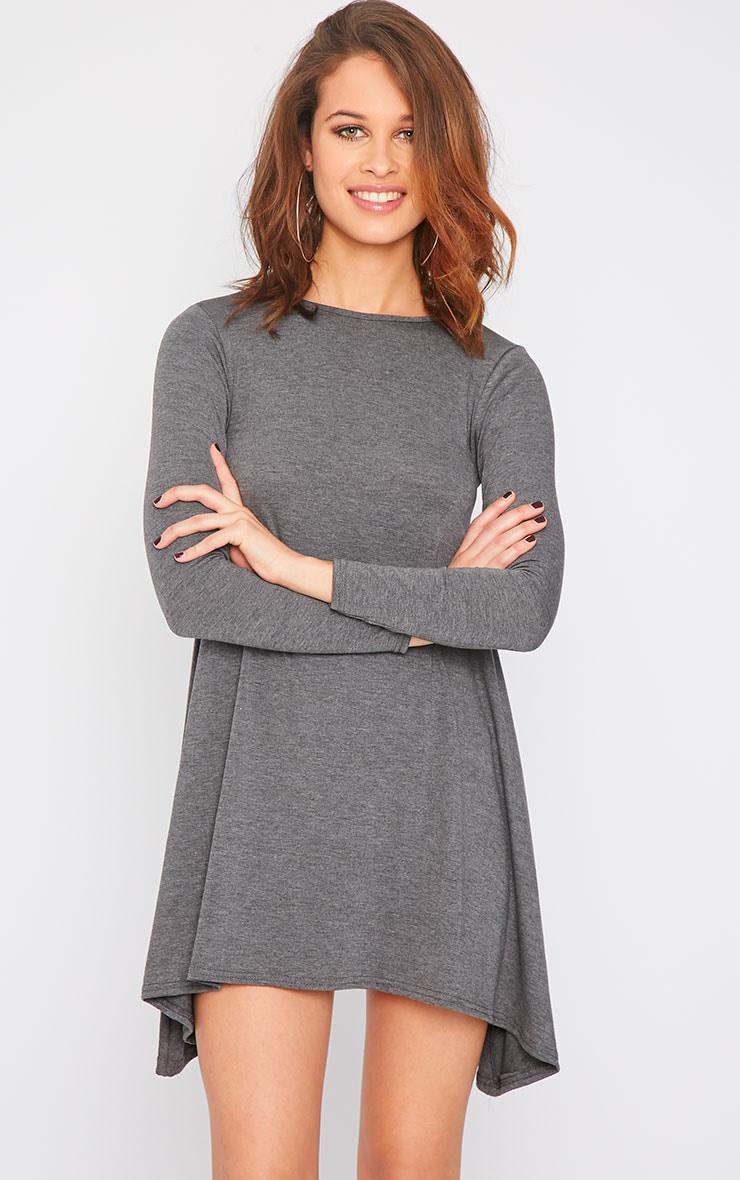 Rosetta Charcoal Jersey Swing Dress 1