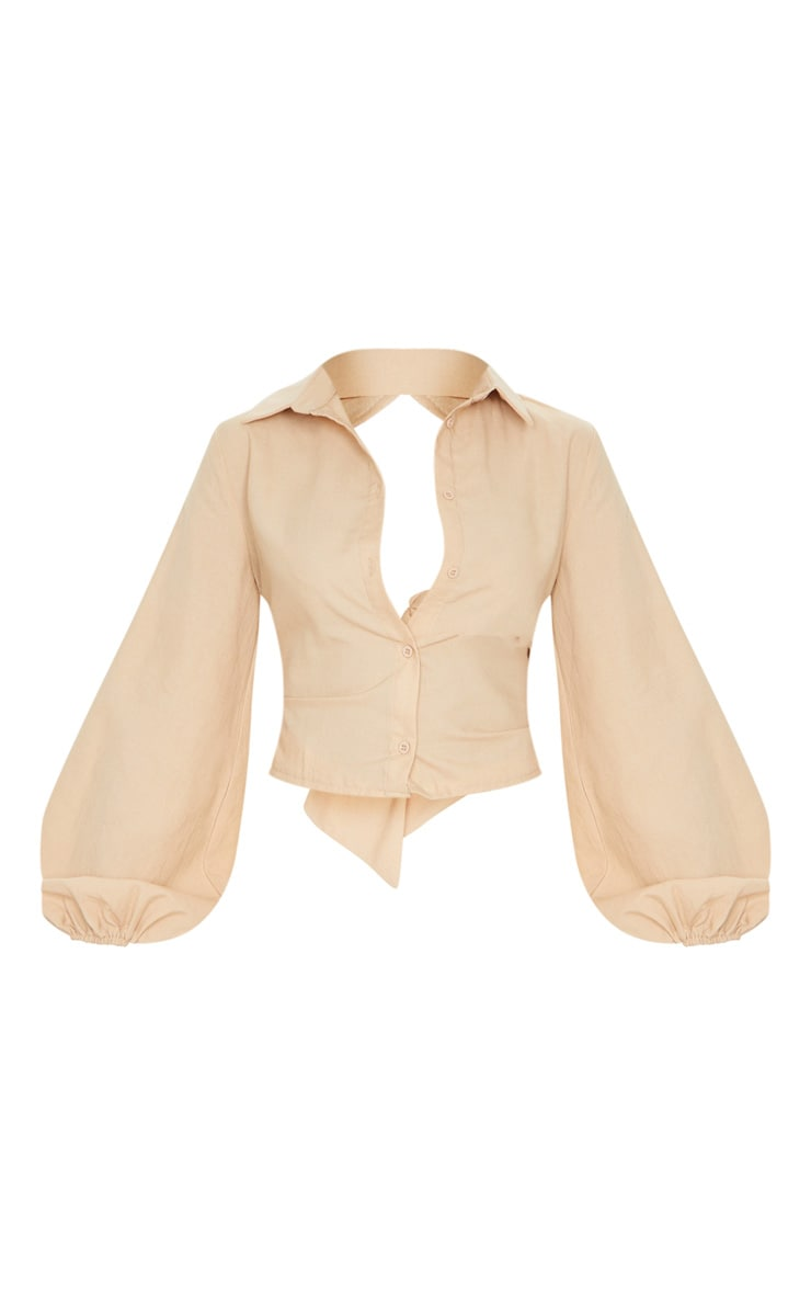 Sand Woven Open Back Tie Long Sleeve Shirt 5