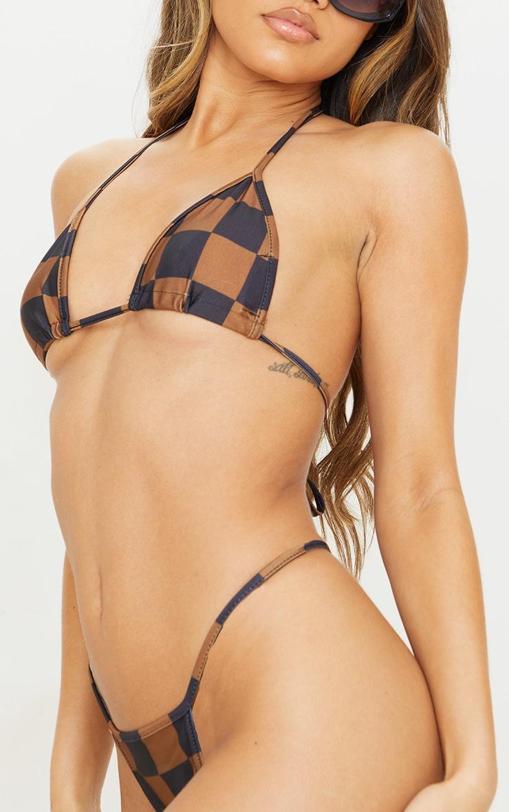 Brown Checkerboard Triangle Bikini Top 4