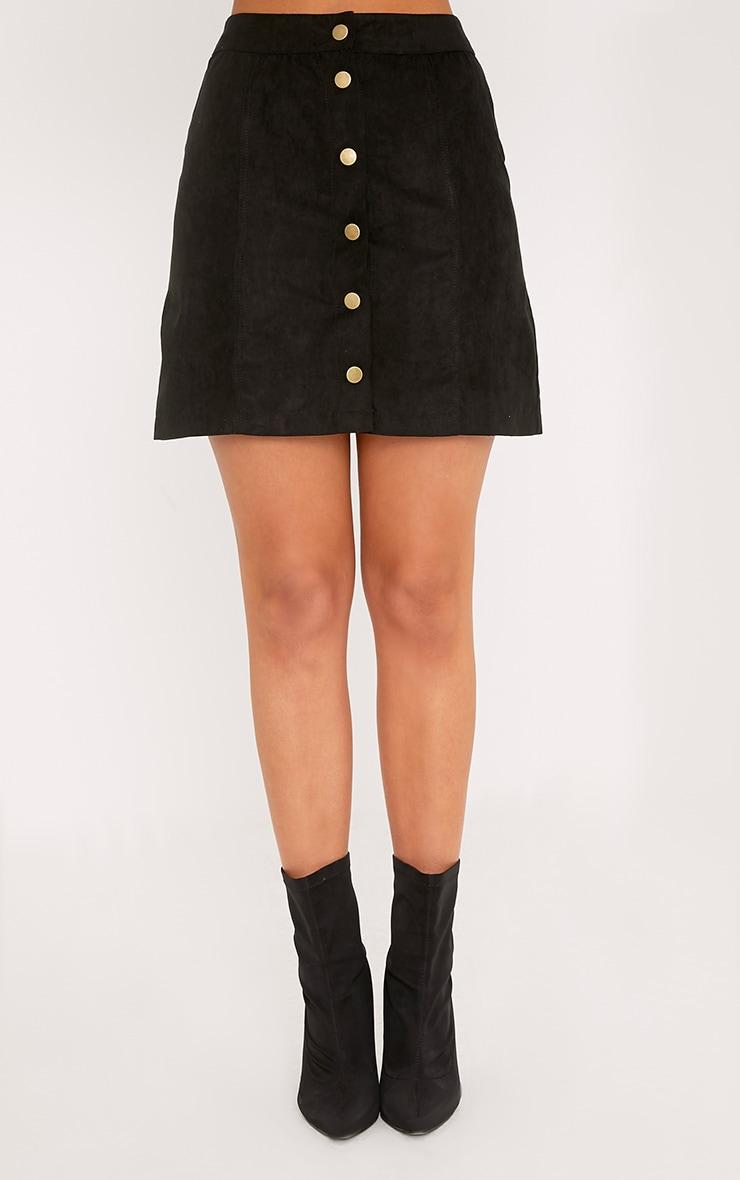 Cheryl jupe noire en daim à boutons sur le devant 2