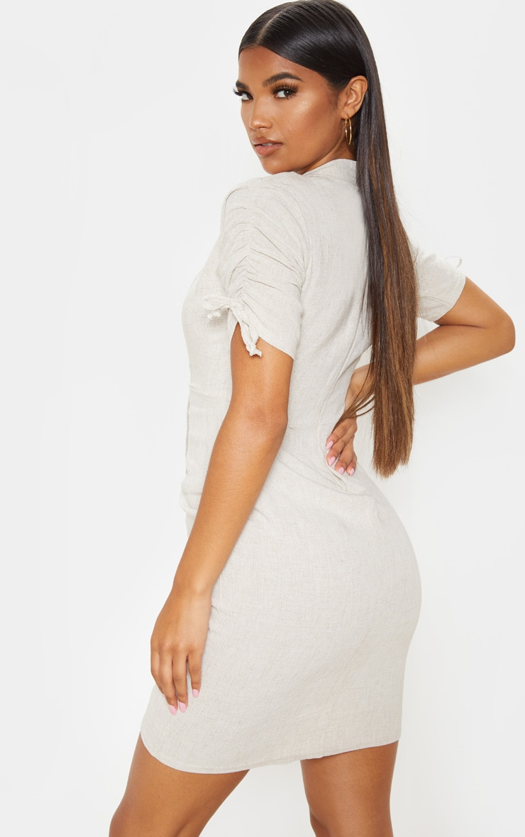 Stone Linen Ruched Sleeve Deep Plunge Bodycon Dress 2