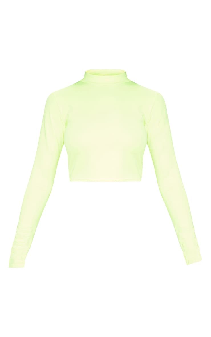 Neon Yellow High Neck Long Sleeve Crop 3