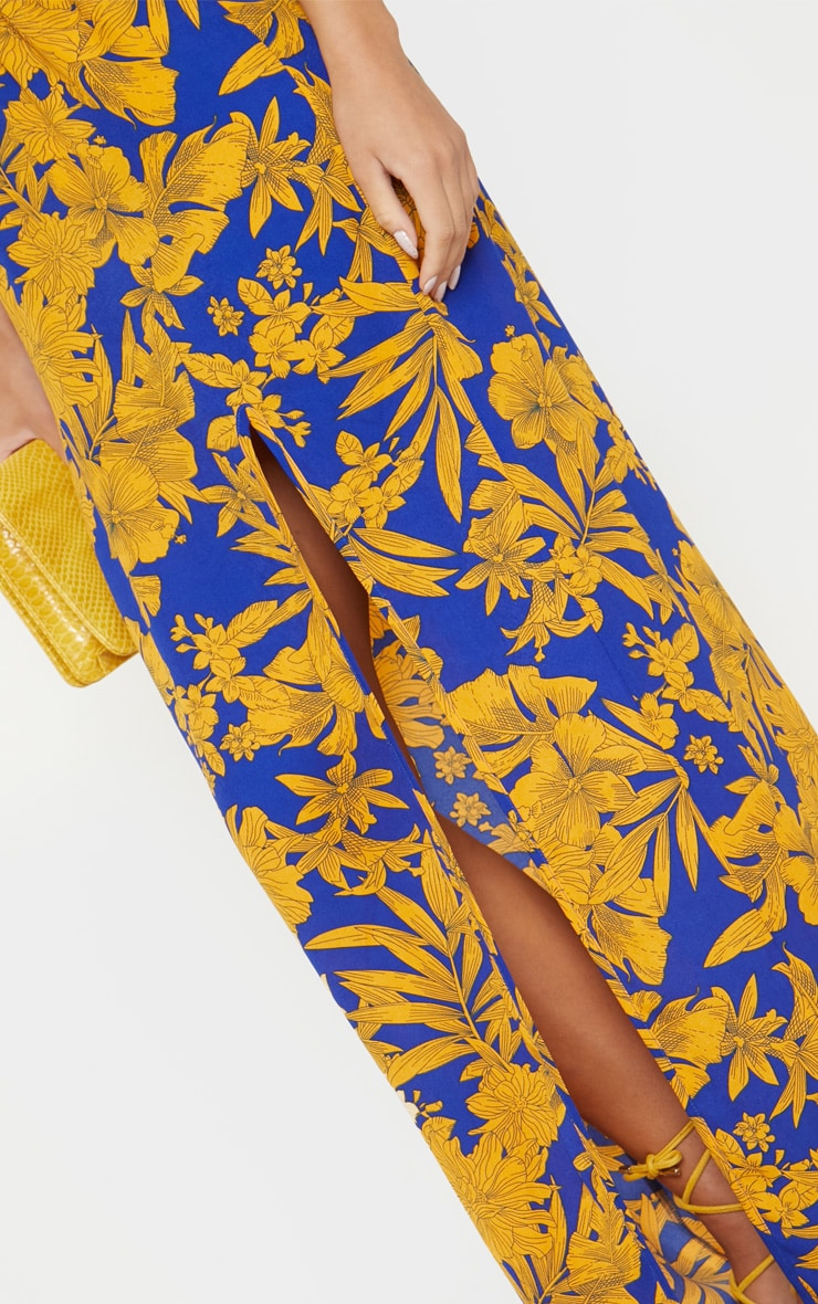 Cobalt Tropical Print Batwing Sleeve Split Leg Maxi Dress 6