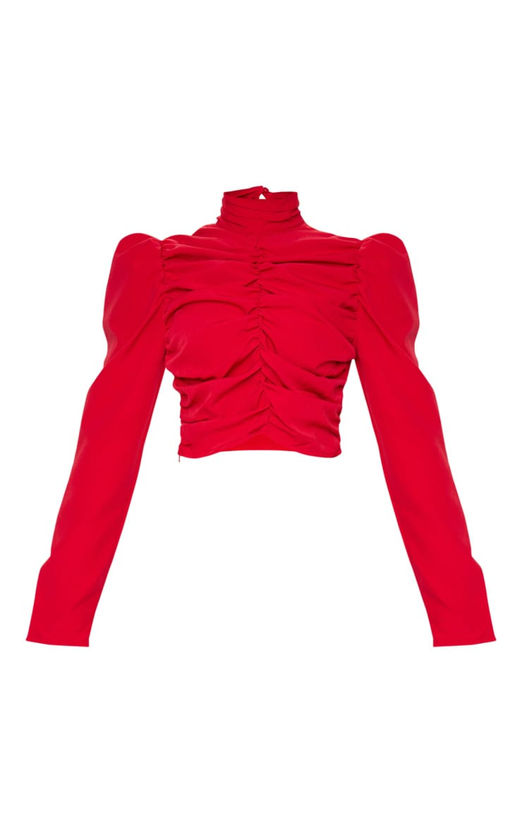 Red Ruched High Neck Crop Top 5