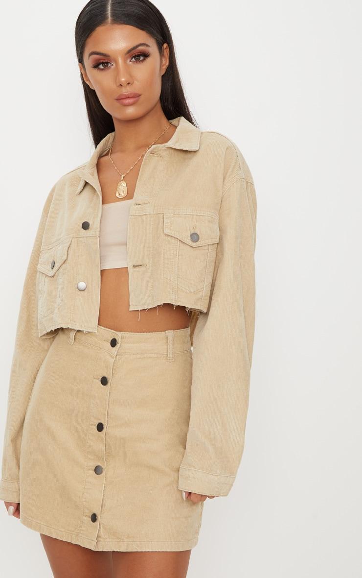Stone Cord Button Down Denim Skirt 1