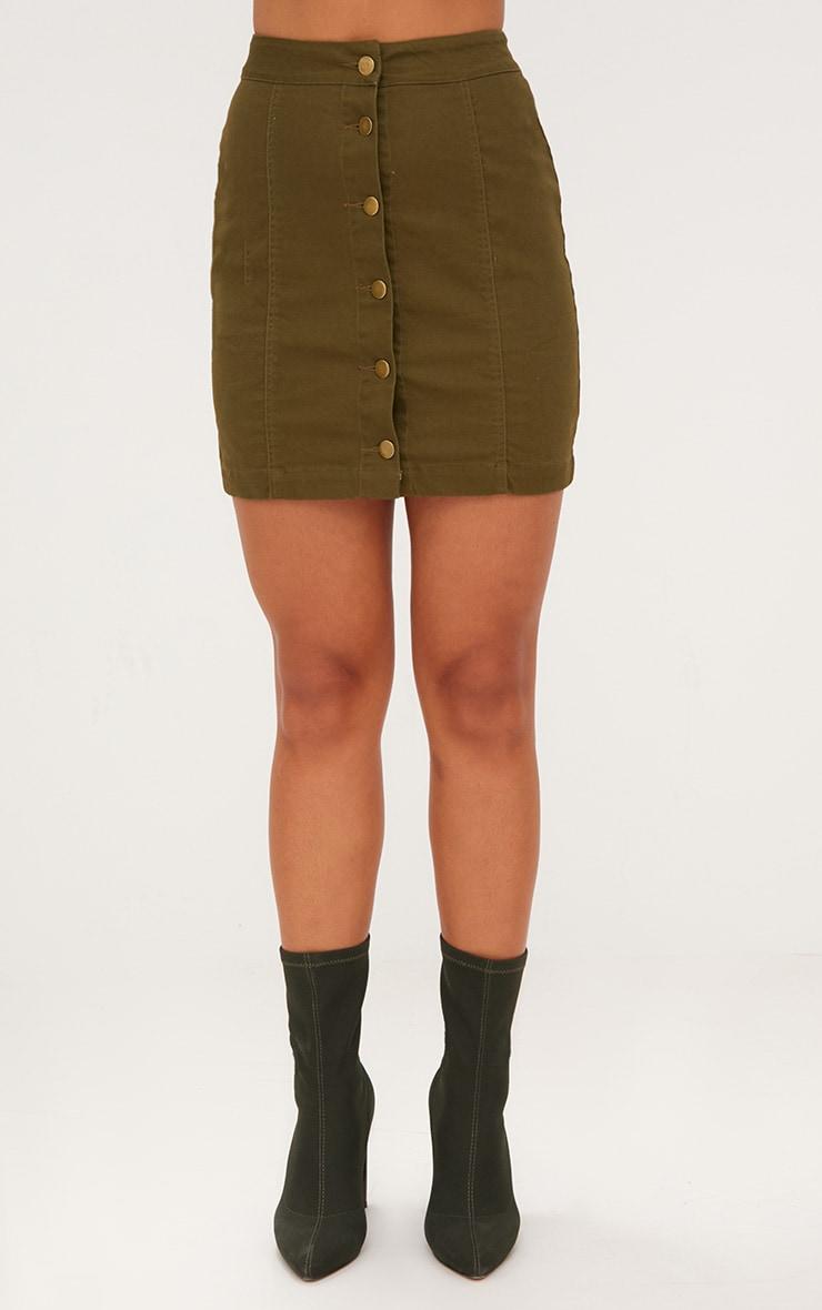 Khaki Denim Button Down Mini Skirt 2