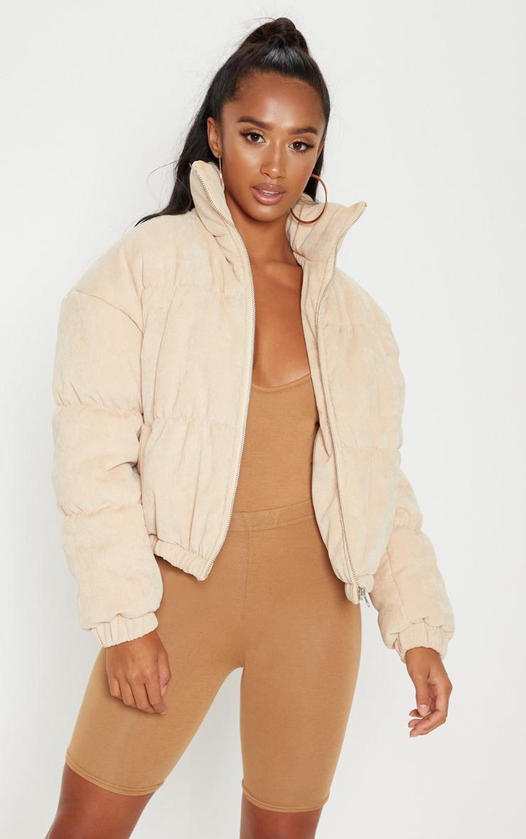Petite Beige Cord Puffer Jacket 1