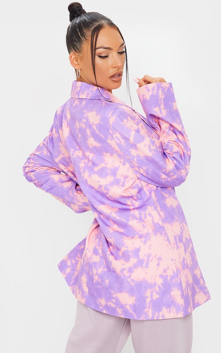 Purple Woven Triple Breasted Oversized Blazer 2