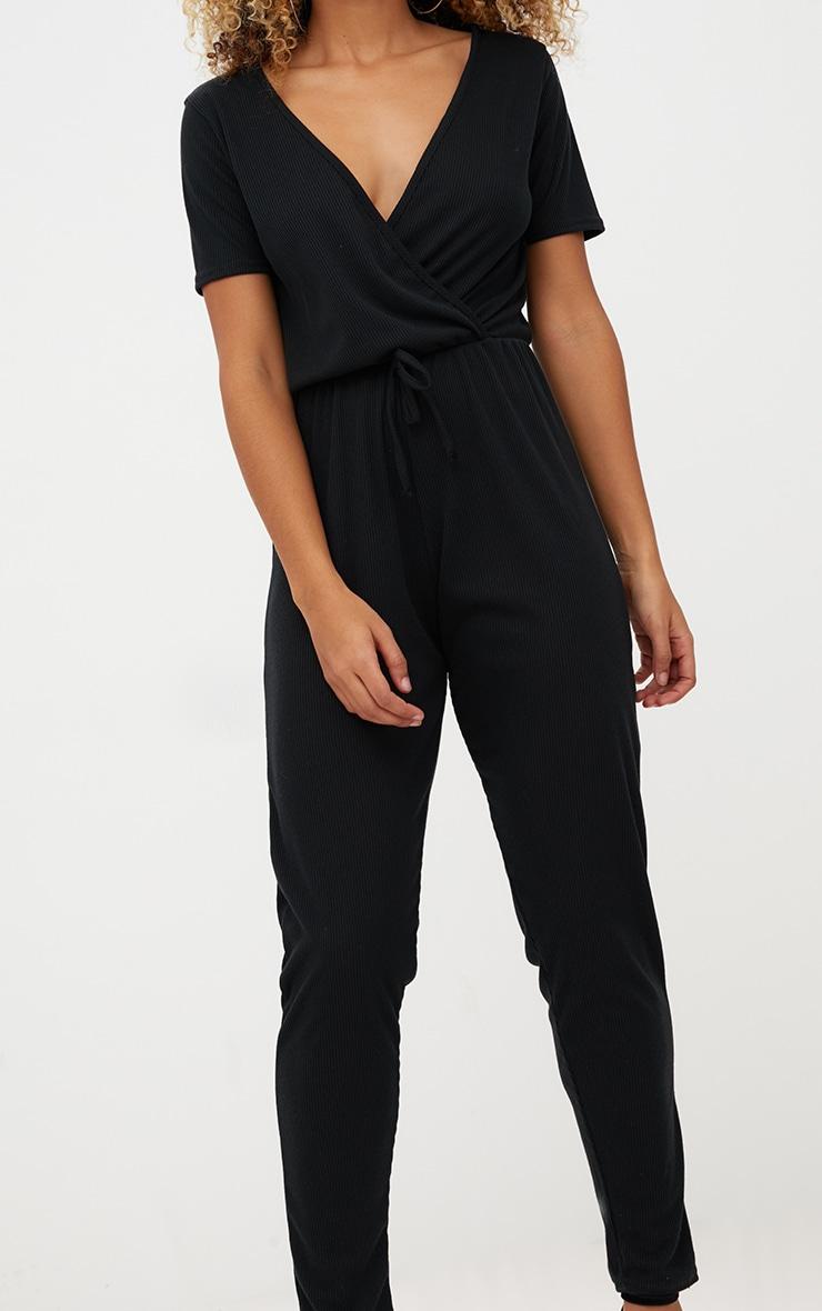 Black Ribbed Wrap Jumpsuit 5