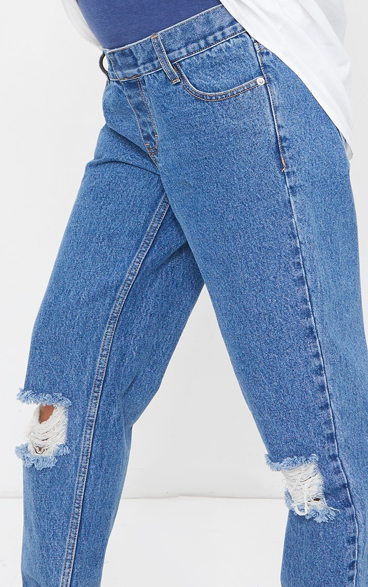 Maternity Blue Mid Wash Ripped Knee Mom Jeans 4
