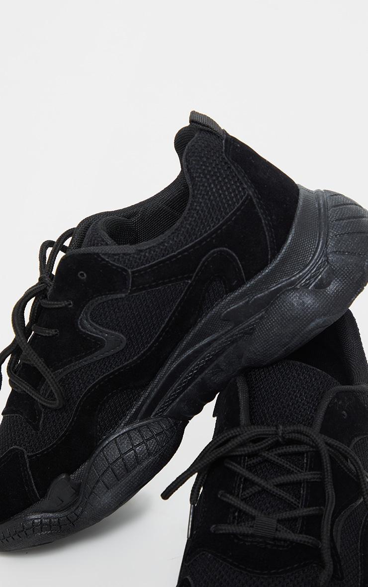 Black Double Bubble Sole Lace Up Sneaker 4