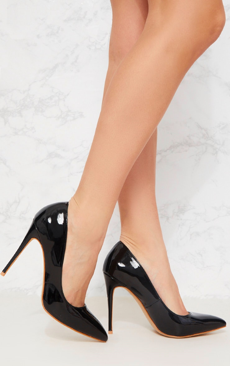 Black Patent Court Shoe 1