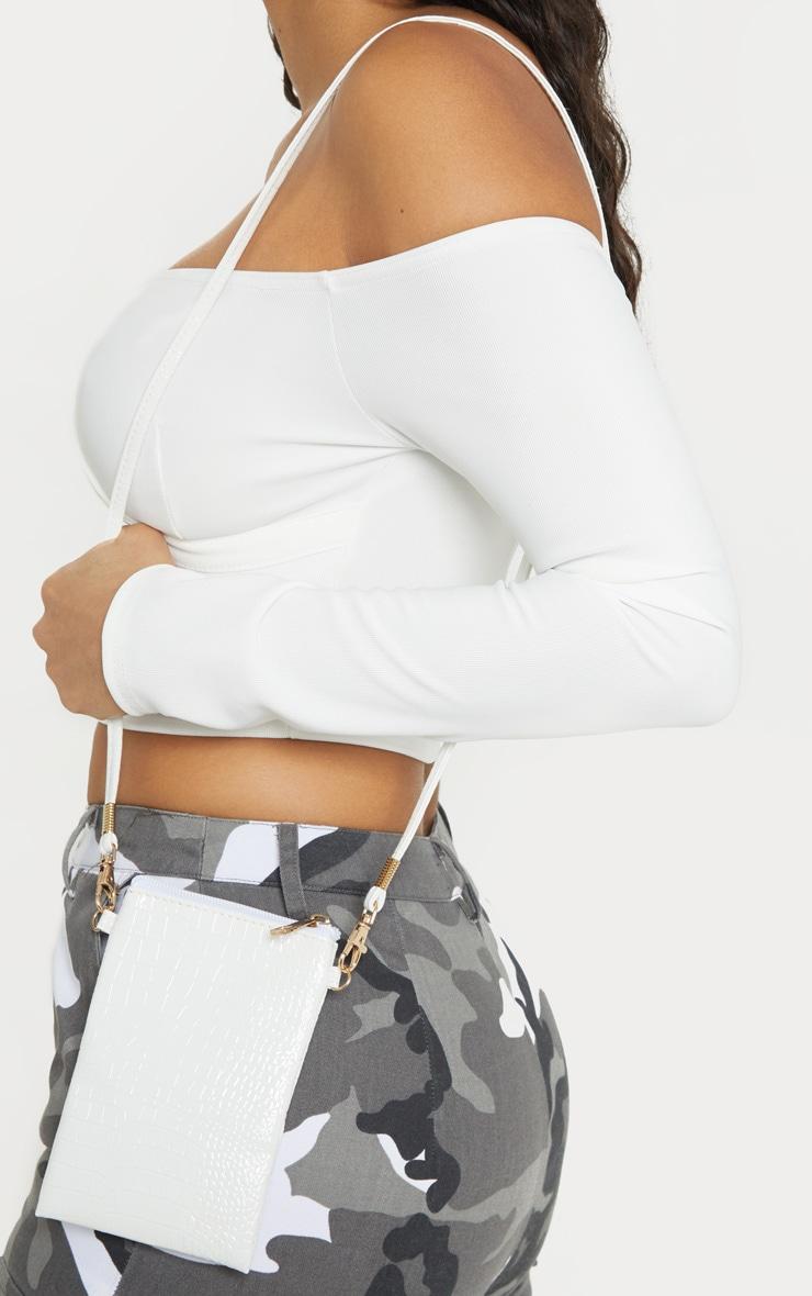White Patent Croc Phone Messinger Bag