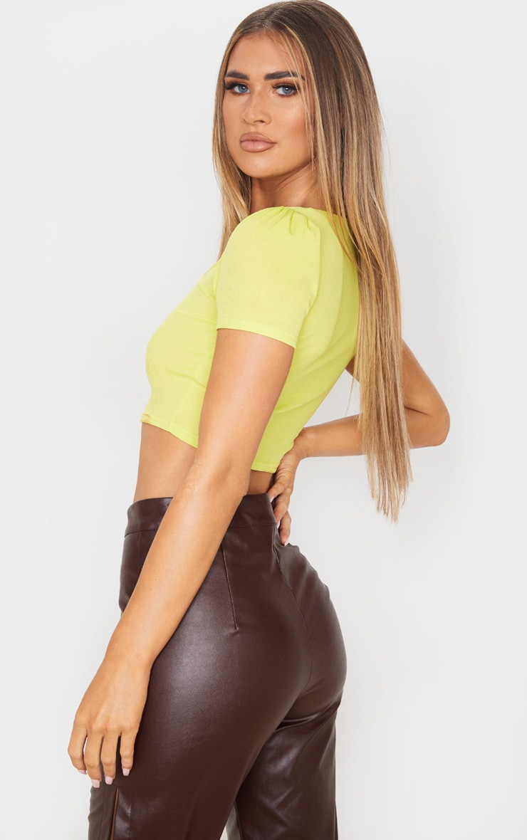 Lime Rib Bow Puff Sleeve Crop Top 2