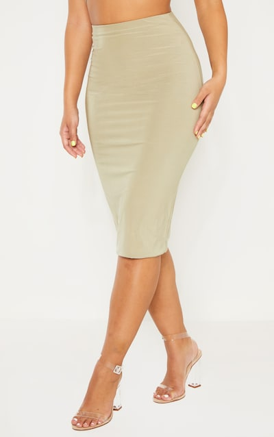 Sage Green Second Skin Slinky Midi Skirt