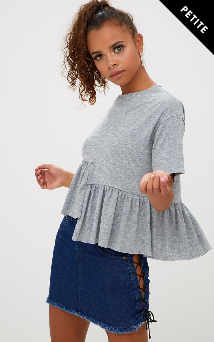 Petite Grey Marl Spliced Hem Crop Top 1