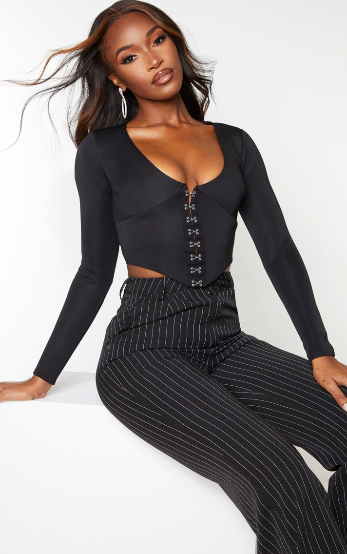 Black Scuba Hook And Eye Pointed Hem Crop Top 1