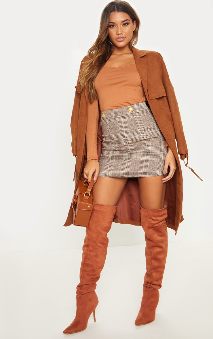 Brown Check Button Detail Mini Skirt 4