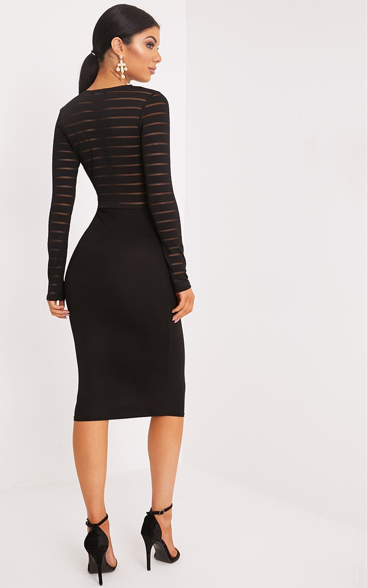 Haley Black Burn Out Mesh Midi Dress 2