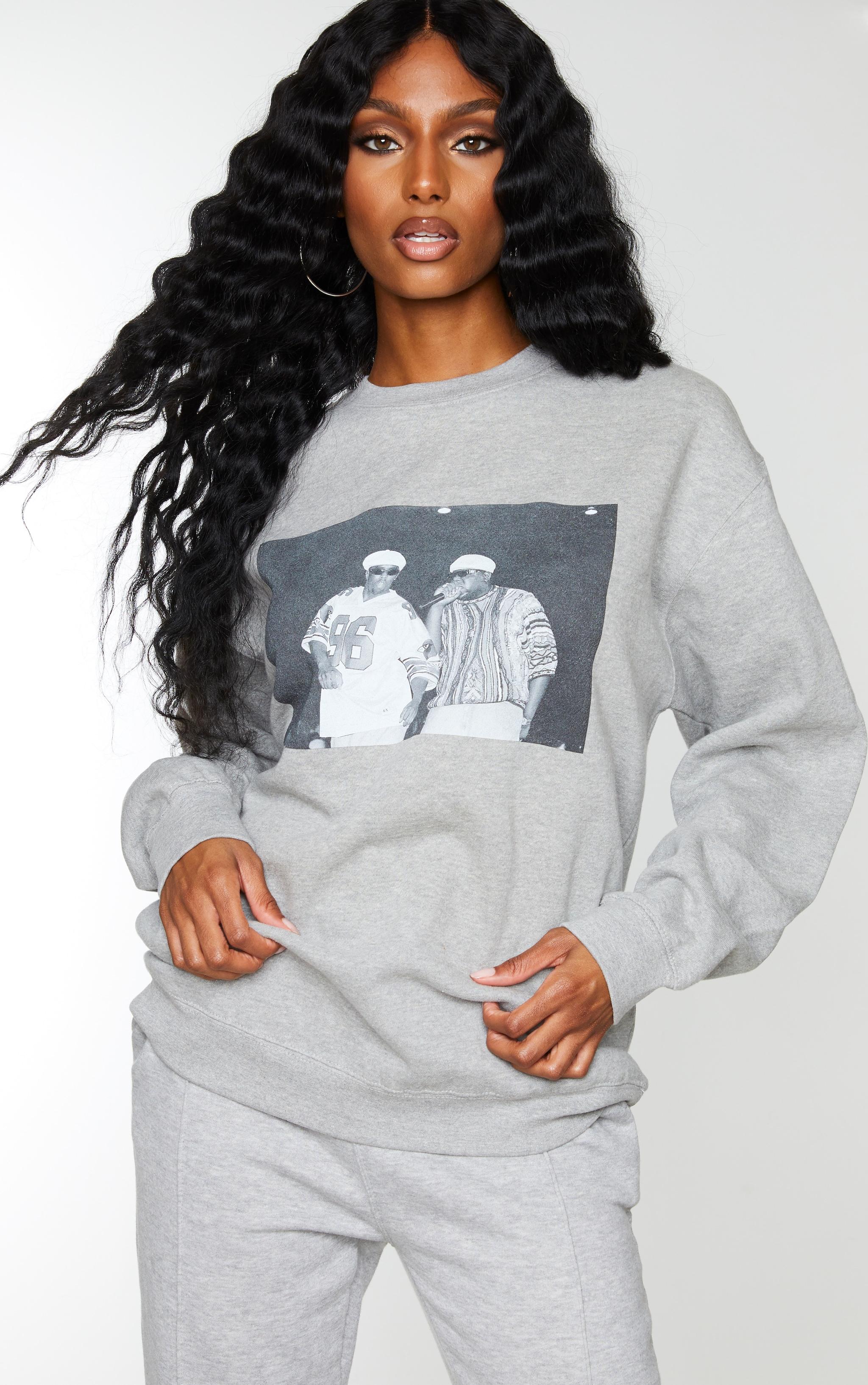 Grey Biggie 96 Print Oversized Sweater 1