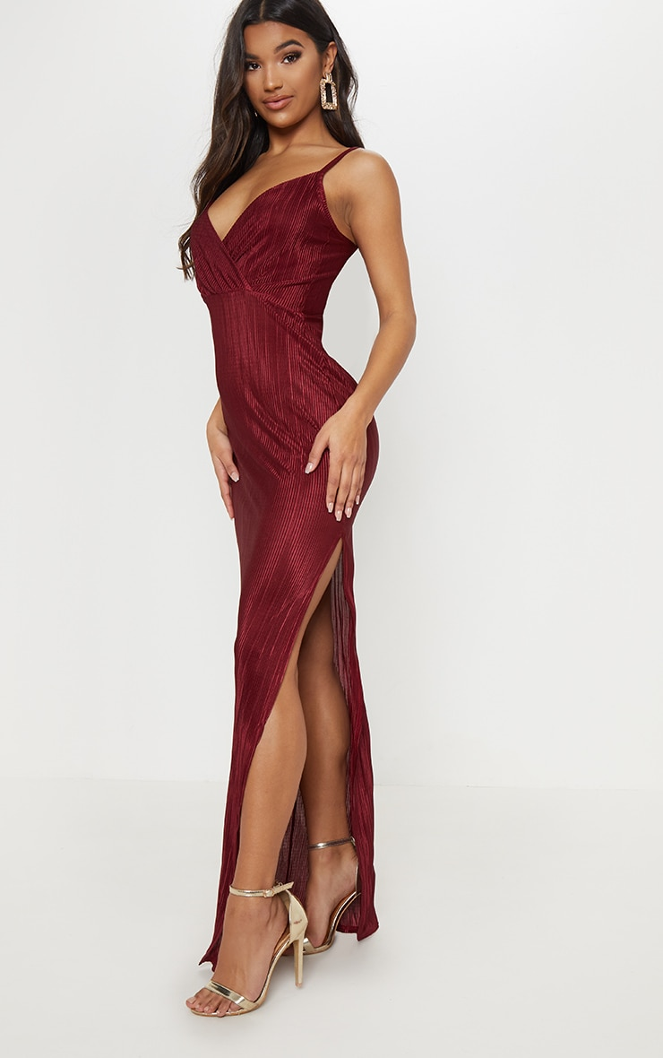5bde147420 Red Plisse Strappy Maxi Dress image 1