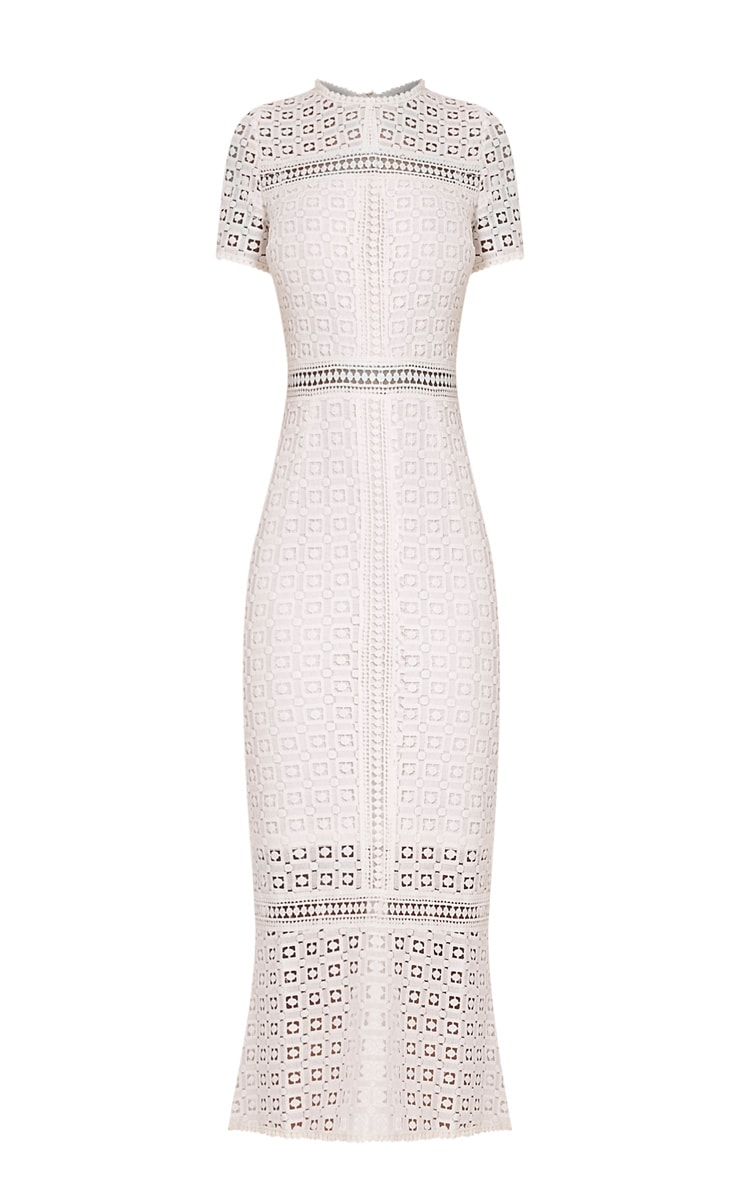 Midira White Crochet Lace Midi Dress 3