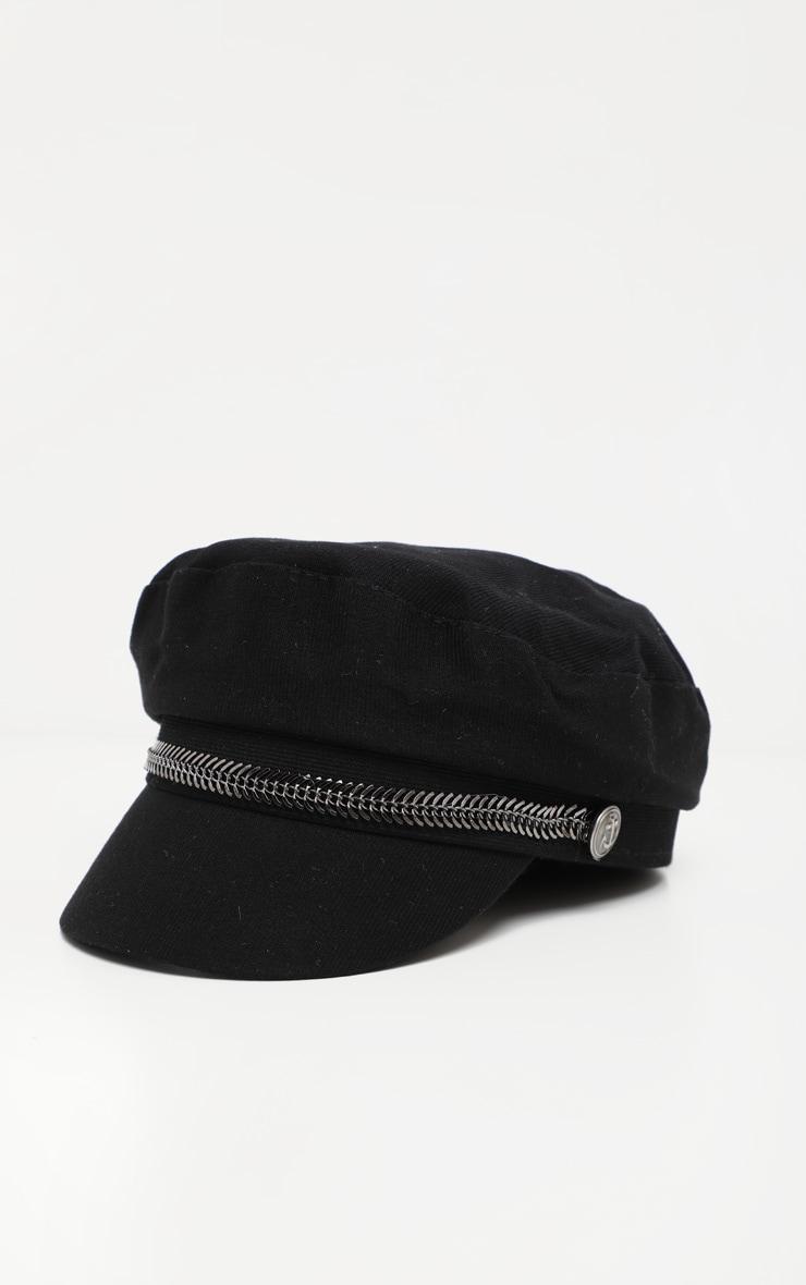 Black Baker Boy Hat With Gun Metal Grey Trim 2