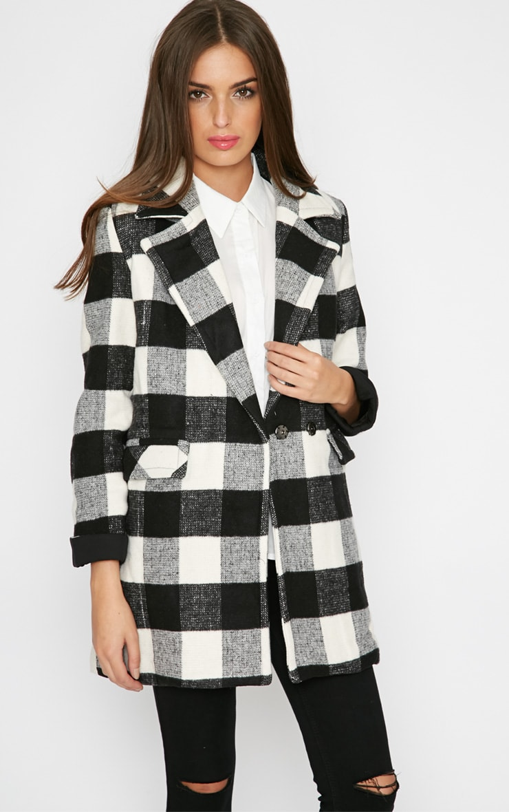 Rama Monochrome Checked Coat  1
