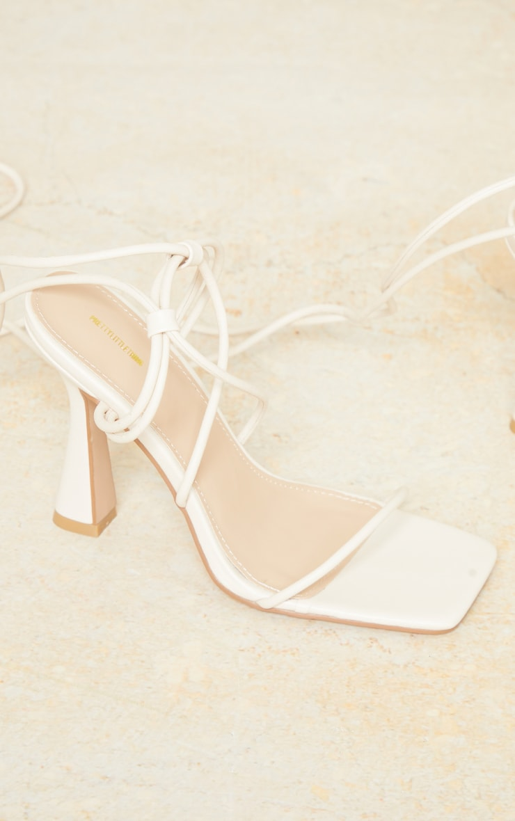 Cream Pu Toe Cage Strappy Heeled Sandals 3