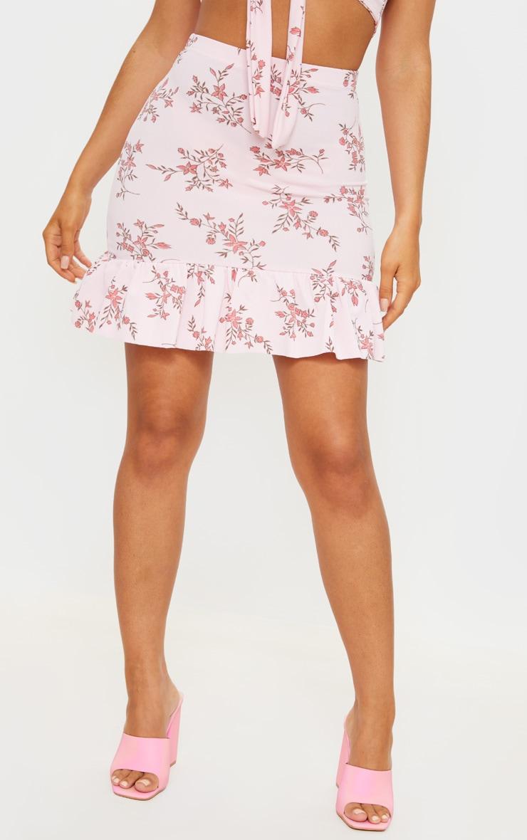Pink Floral Print Frill Hem Mini Skirt 2